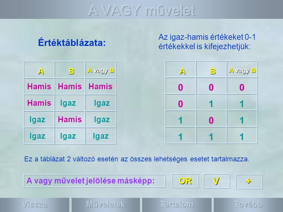 A VAGY művelet Értéktáblázata: 1 1 1 V + OR