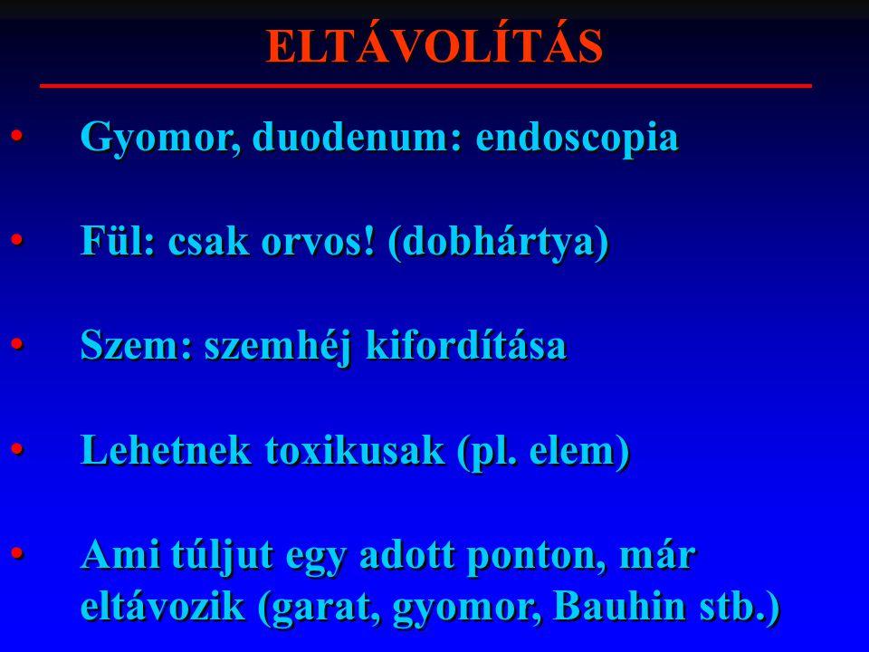 ELTÁVOLÍTÁS Gyomor, duodenum: endoscopia Fül: csak orvos! (dobhártya)