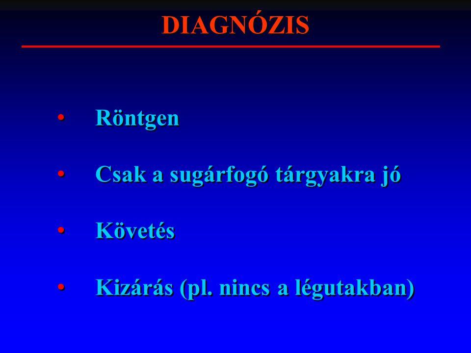 DIAGNÓZIS Röntgen Csak a sugárfogó tárgyakra jó Követés