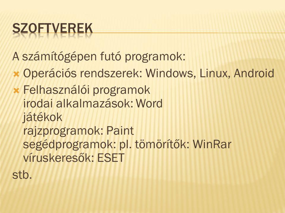 Szoftverek A számítógépen futó programok: