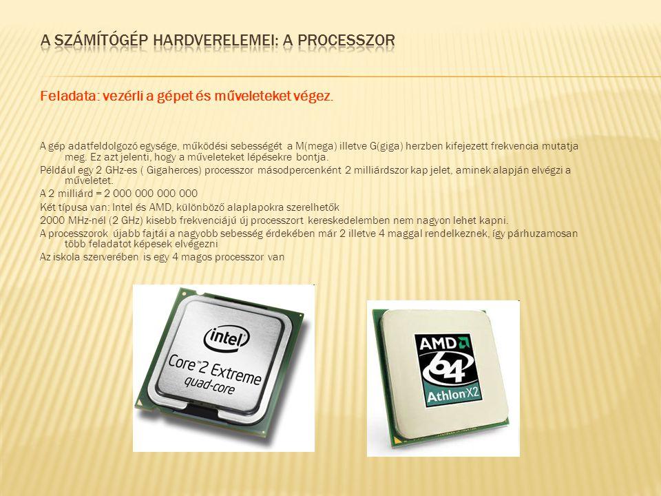A számítógép hardverelemei: A processzor
