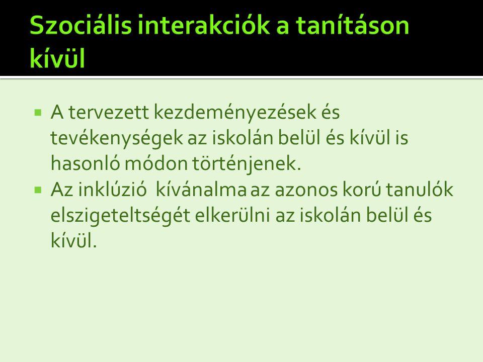 Szociális interakciók a tanításon kívül