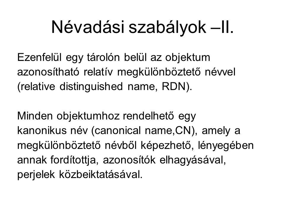 Névadási szabályok –II.