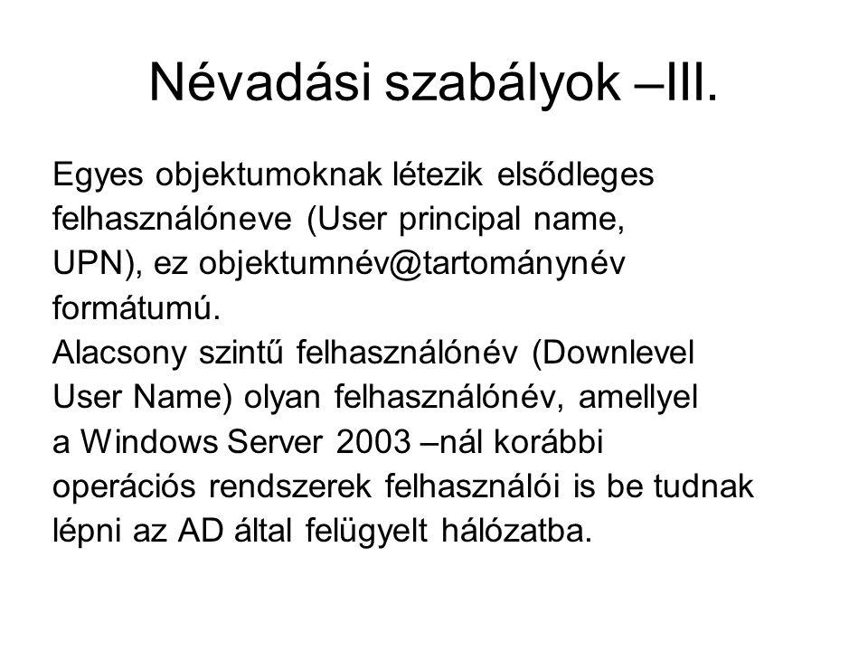 Névadási szabályok –III.