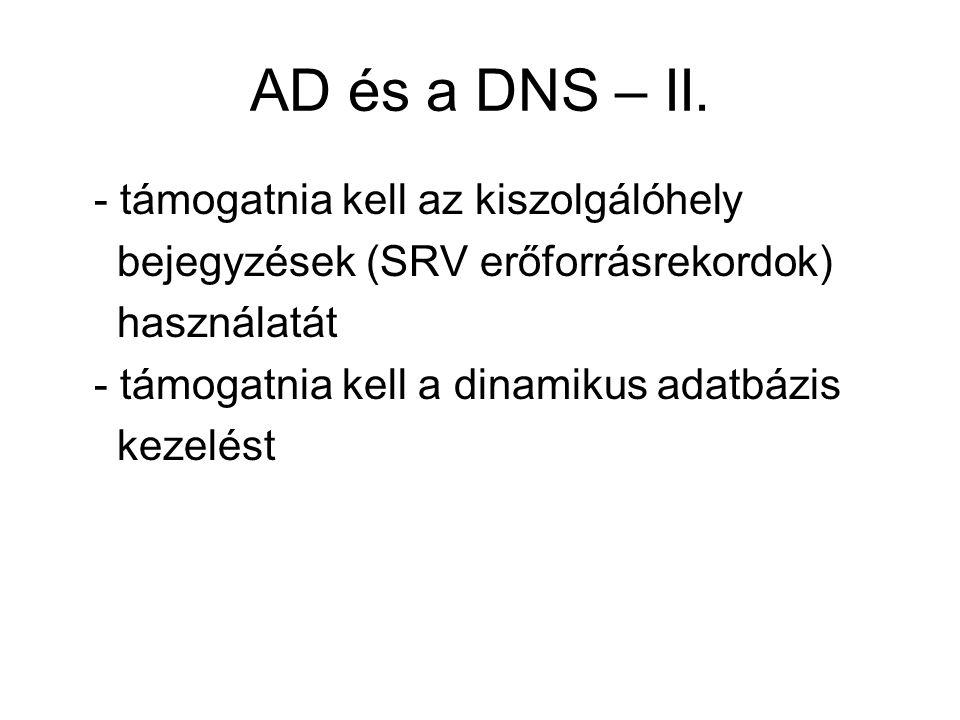 AD és a DNS – II. - támogatnia kell az kiszolgálóhely