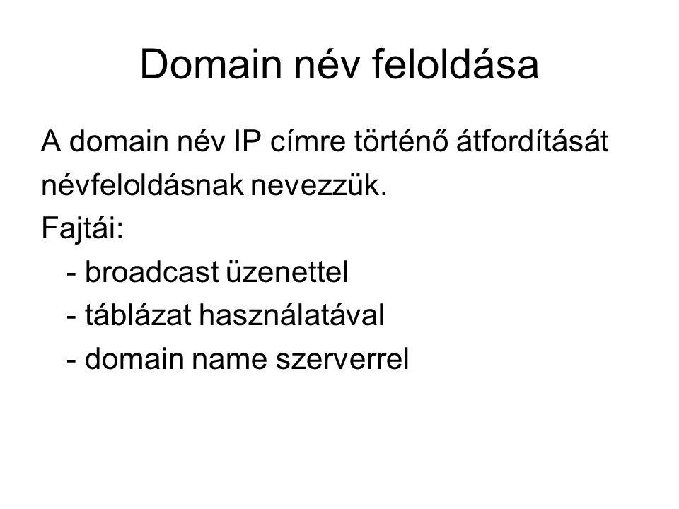 Domain név feloldása A domain név IP címre történő átfordítását