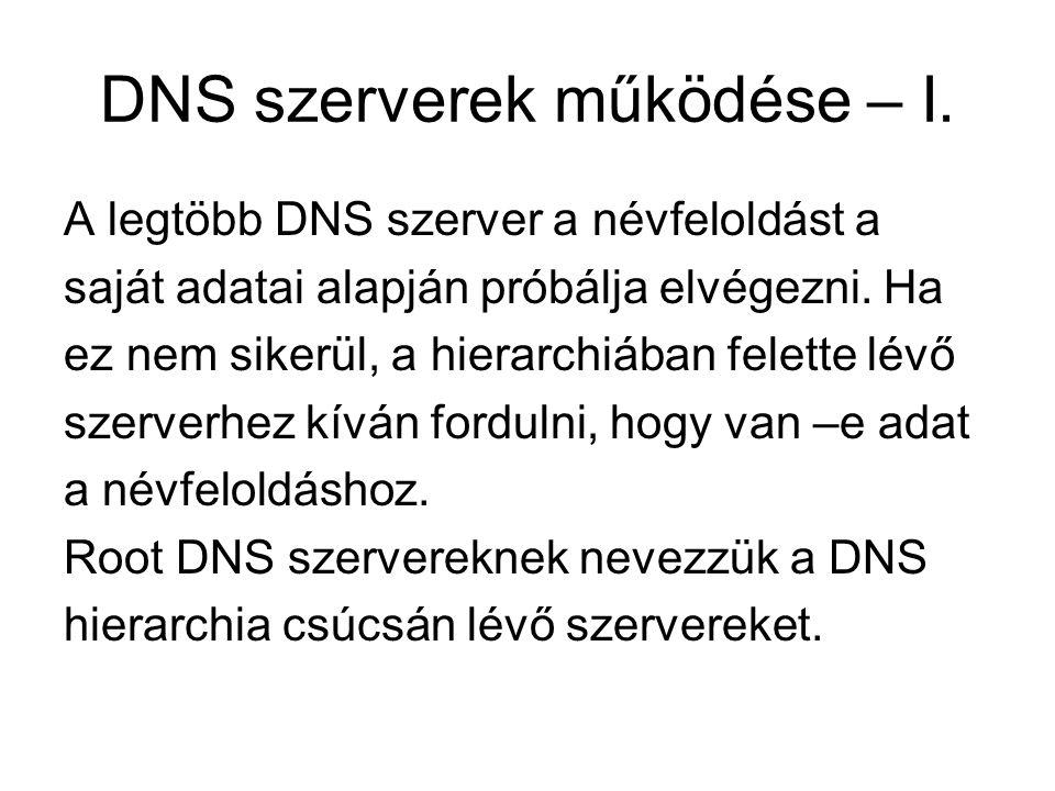 DNS szerverek működése – I.