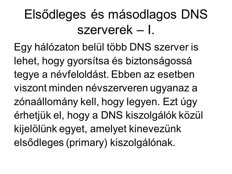 Elsődleges és másodlagos DNS szerverek – I.