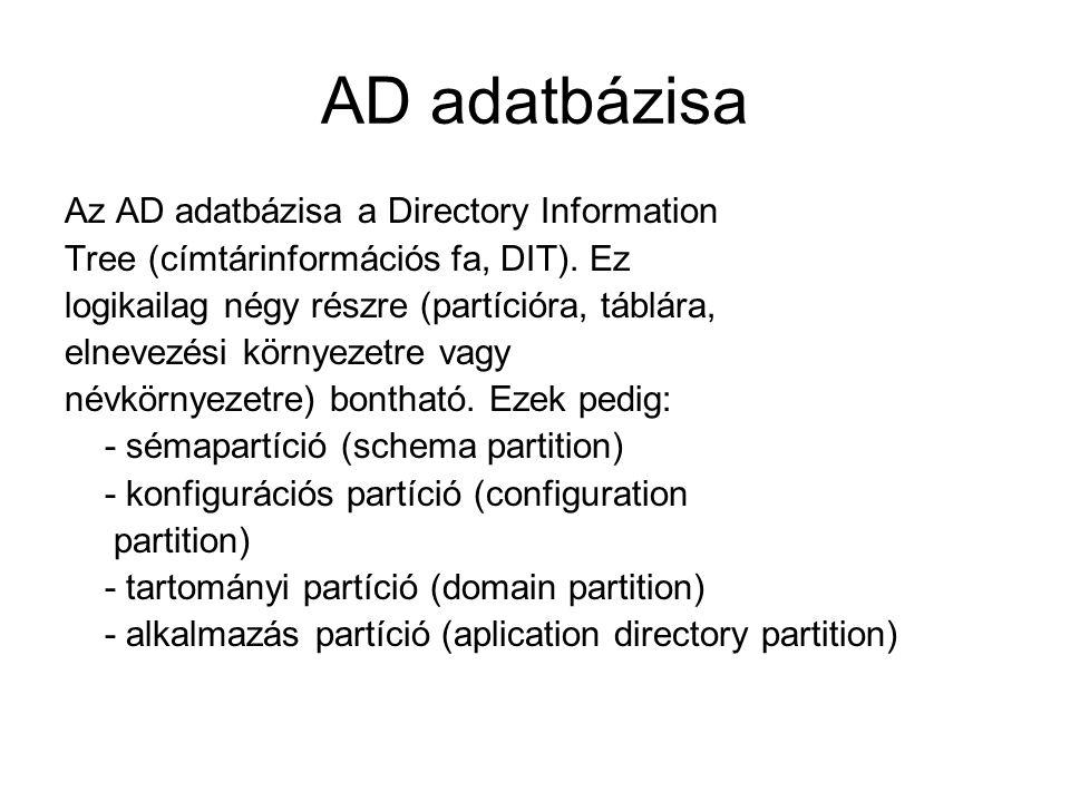 AD adatbázisa Az AD adatbázisa a Directory Information