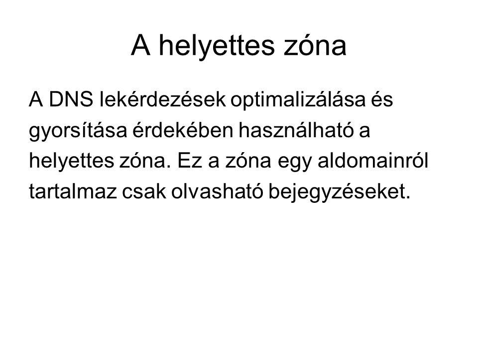 A helyettes zóna A DNS lekérdezések optimalizálása és