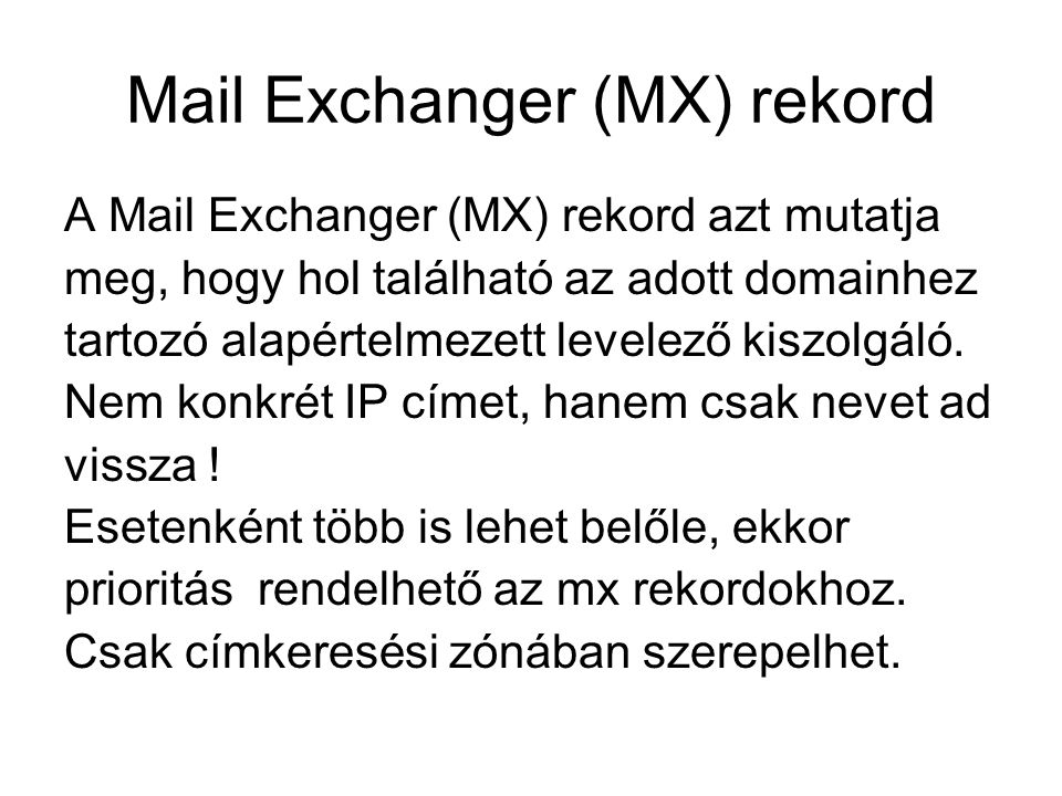 Mail Exchanger (MX) rekord