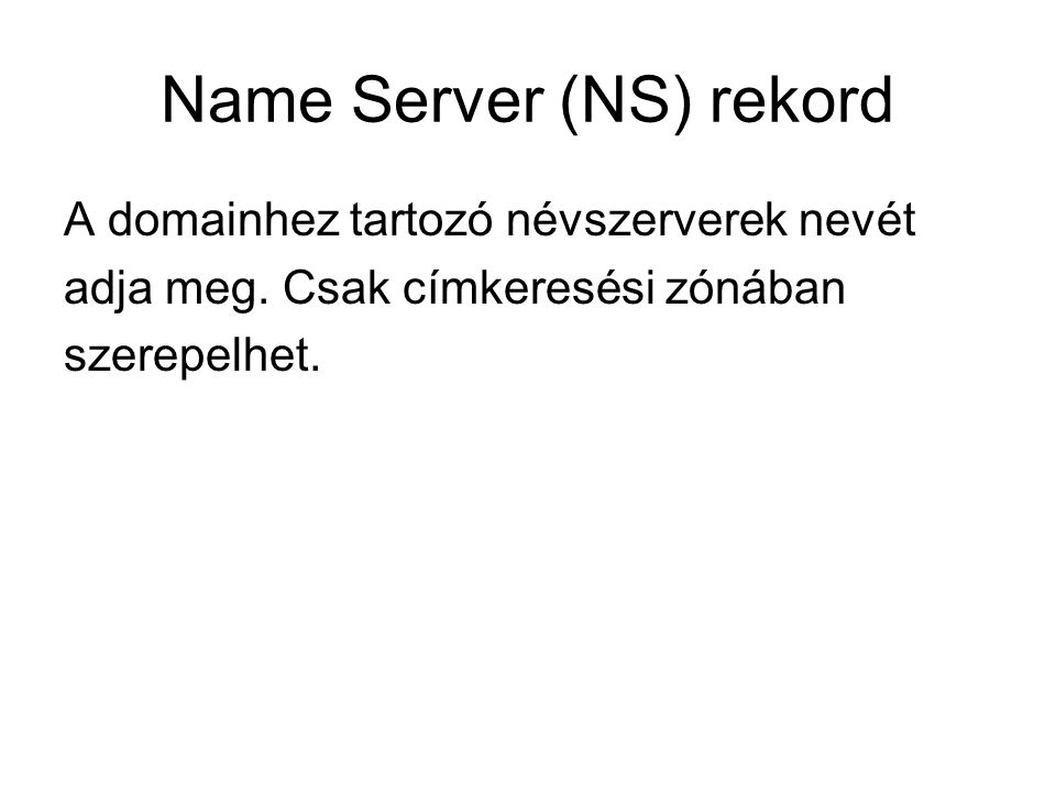 Name Server (NS) rekord