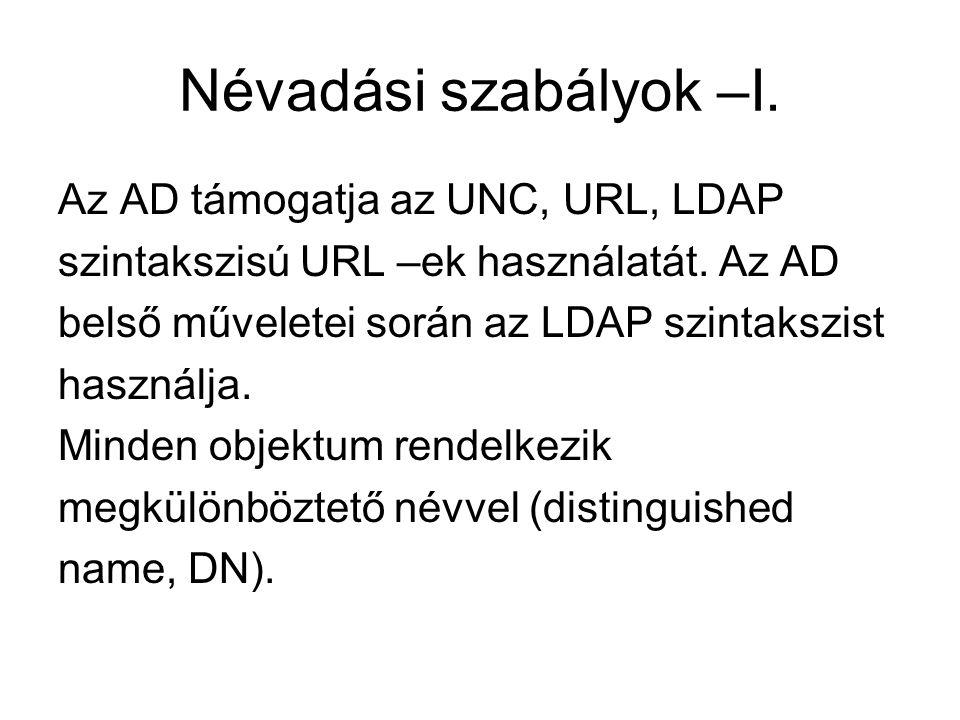 Névadási szabályok –I. Az AD támogatja az UNC, URL, LDAP