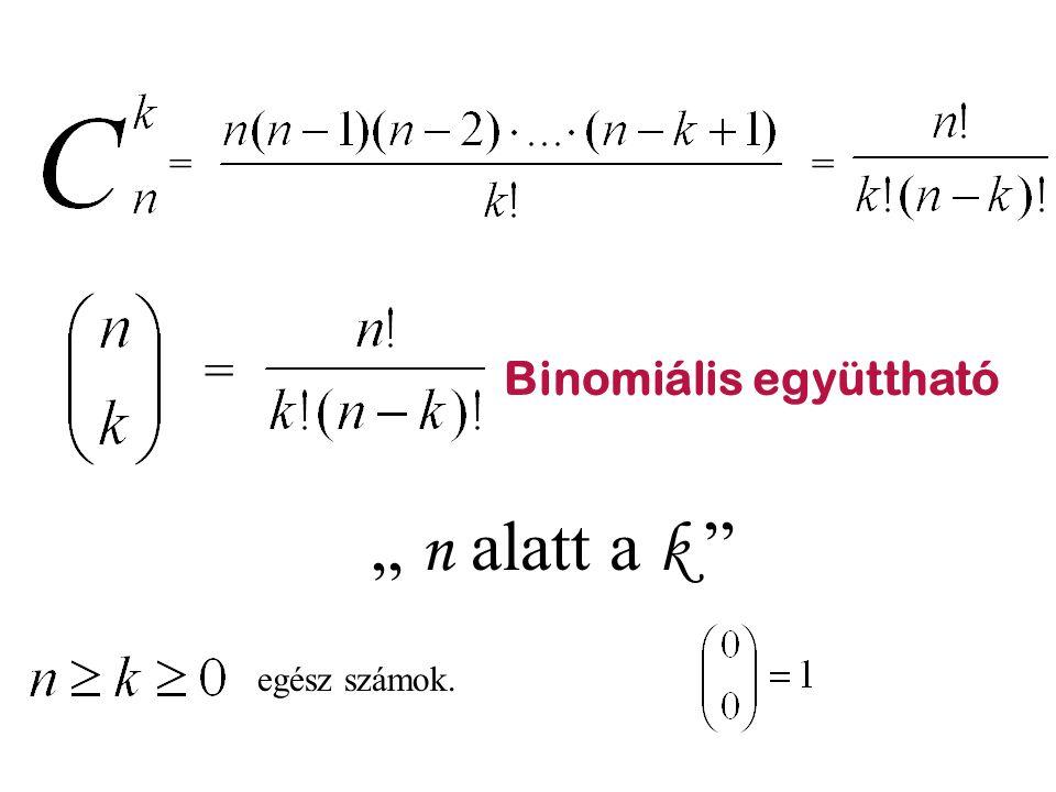 """= = = Binomiális együttható """" n alatt a k egész számok."""