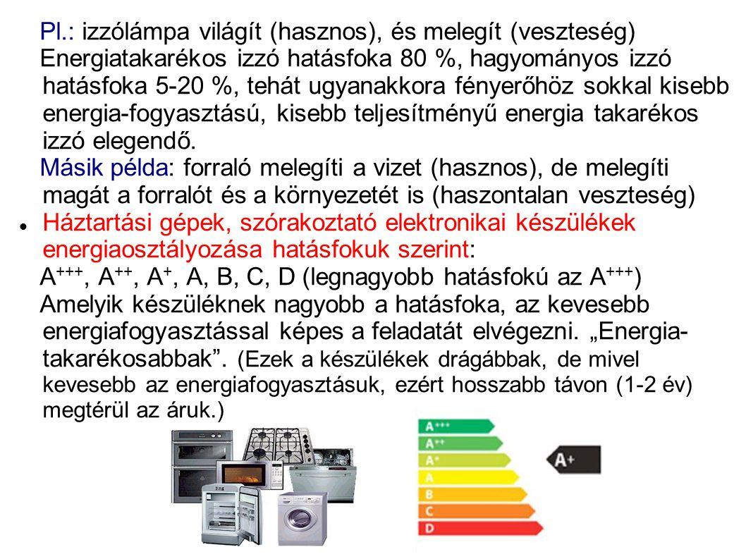 Pl.: izzólámpa világít (hasznos), és melegít (veszteség)