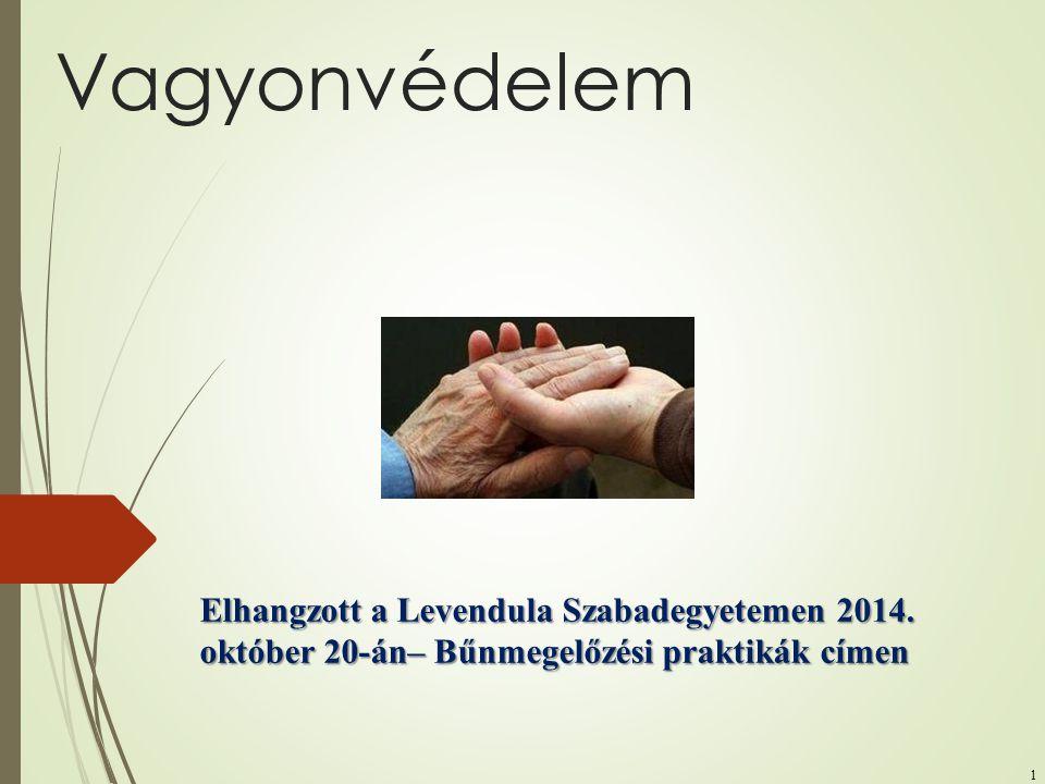 Vagyonvédelem Elhangzott a Levendula Szabadegyetemen 2014.