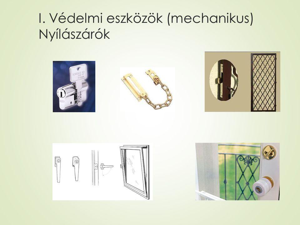 I. Védelmi eszközök (mechanikus) Nyílászárók