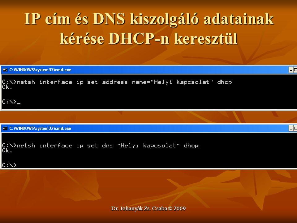 IP cím és DNS kiszolgáló adatainak kérése DHCP-n keresztül