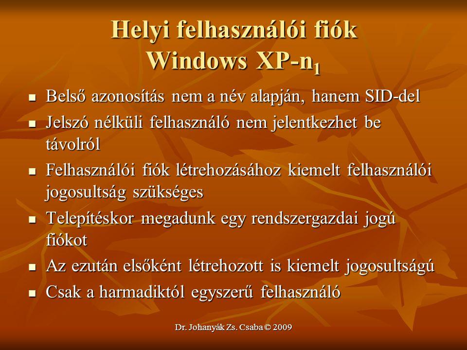 Helyi felhasználói fiók Windows XP-n1
