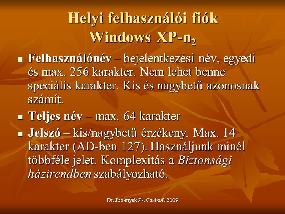 Helyi felhasználói fiók Windows XP-n2