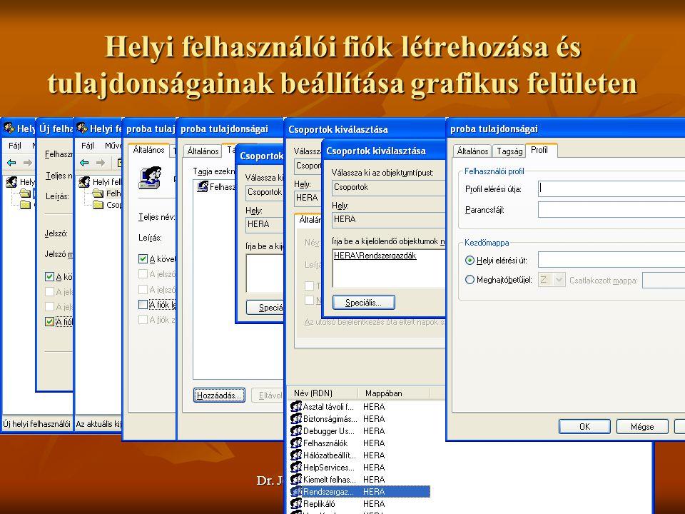 Helyi felhasználói fiók létrehozása és tulajdonságainak beállítása grafikus felületen