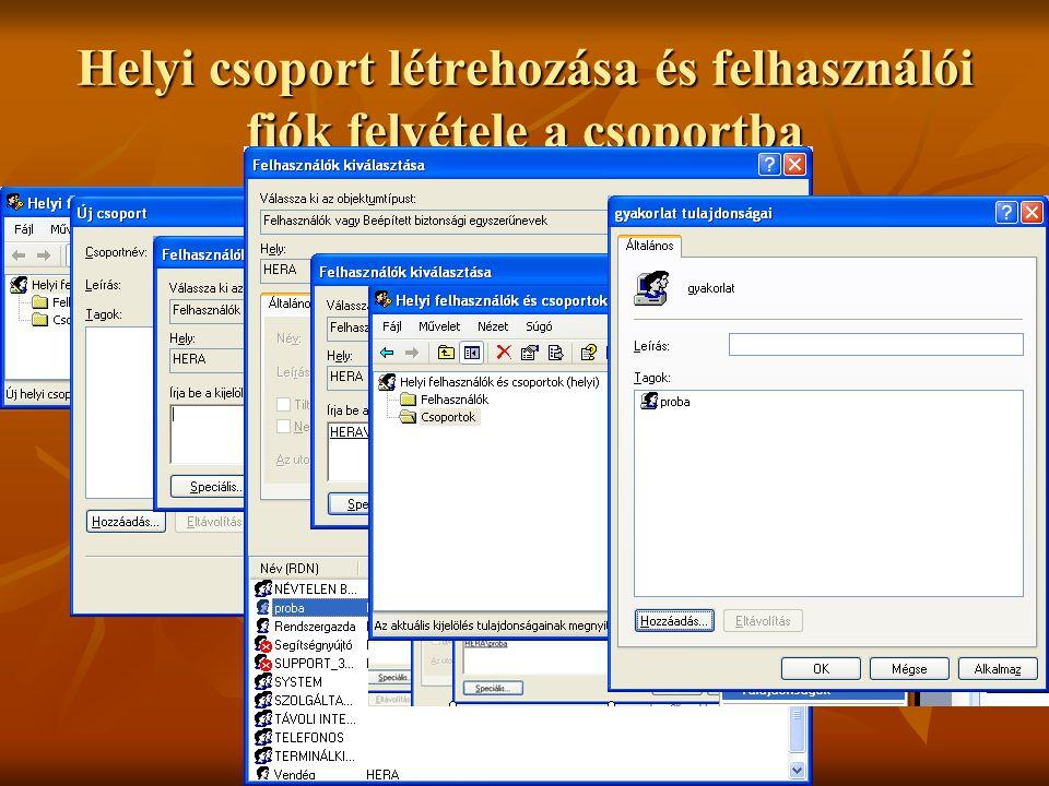 Helyi csoport létrehozása és felhasználói fiók felvétele a csoportba
