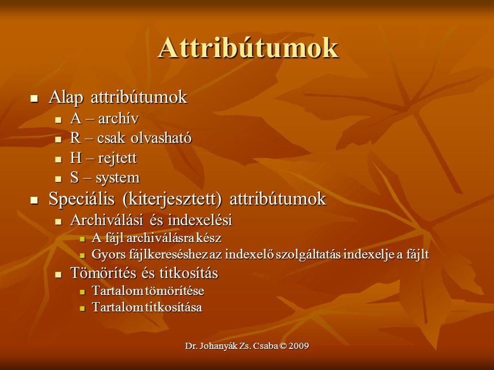 Attribútumok Alap attribútumok Speciális (kiterjesztett) attribútumok