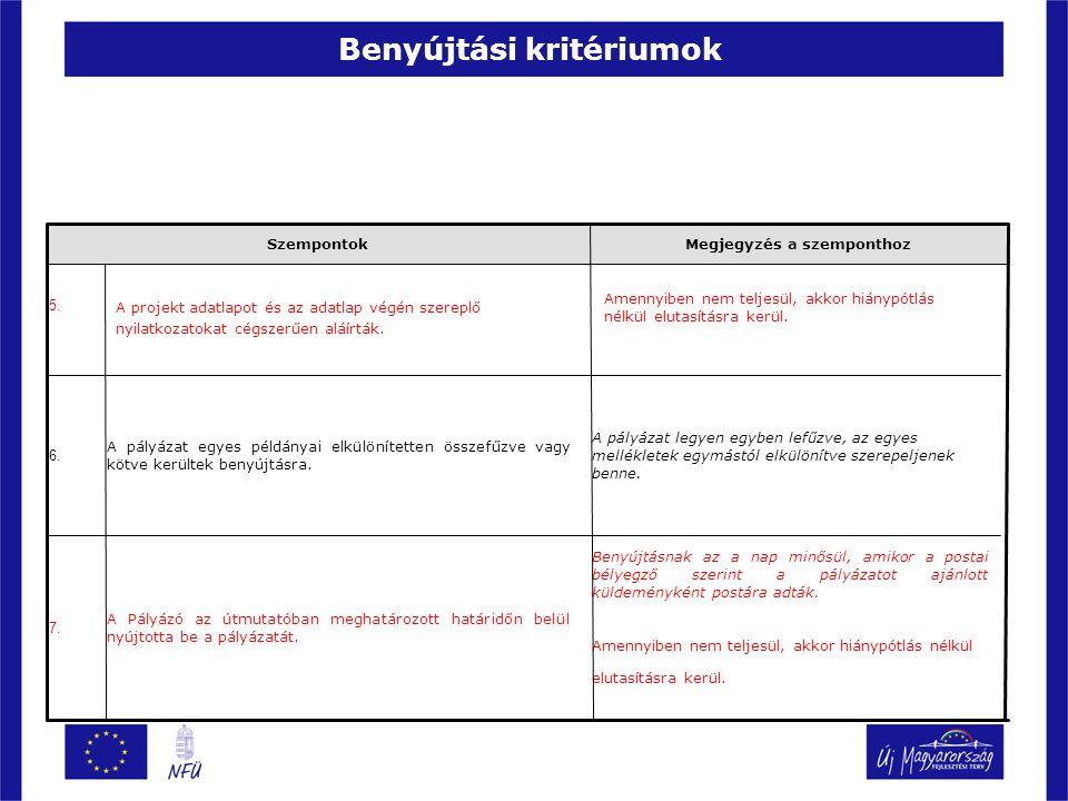 Benyújtási kritériumok