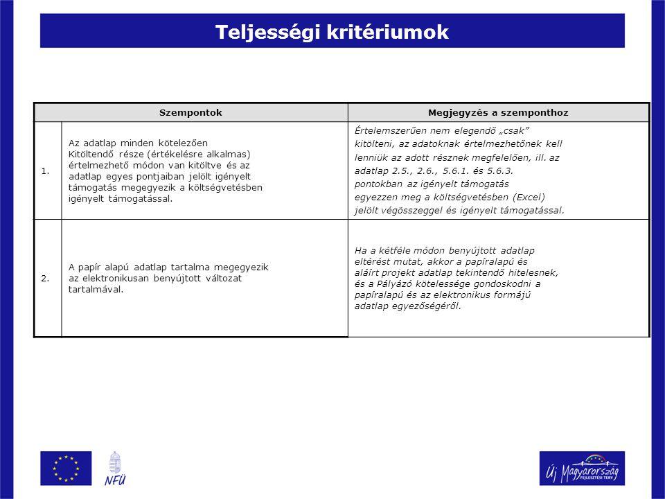 Teljességi kritériumok
