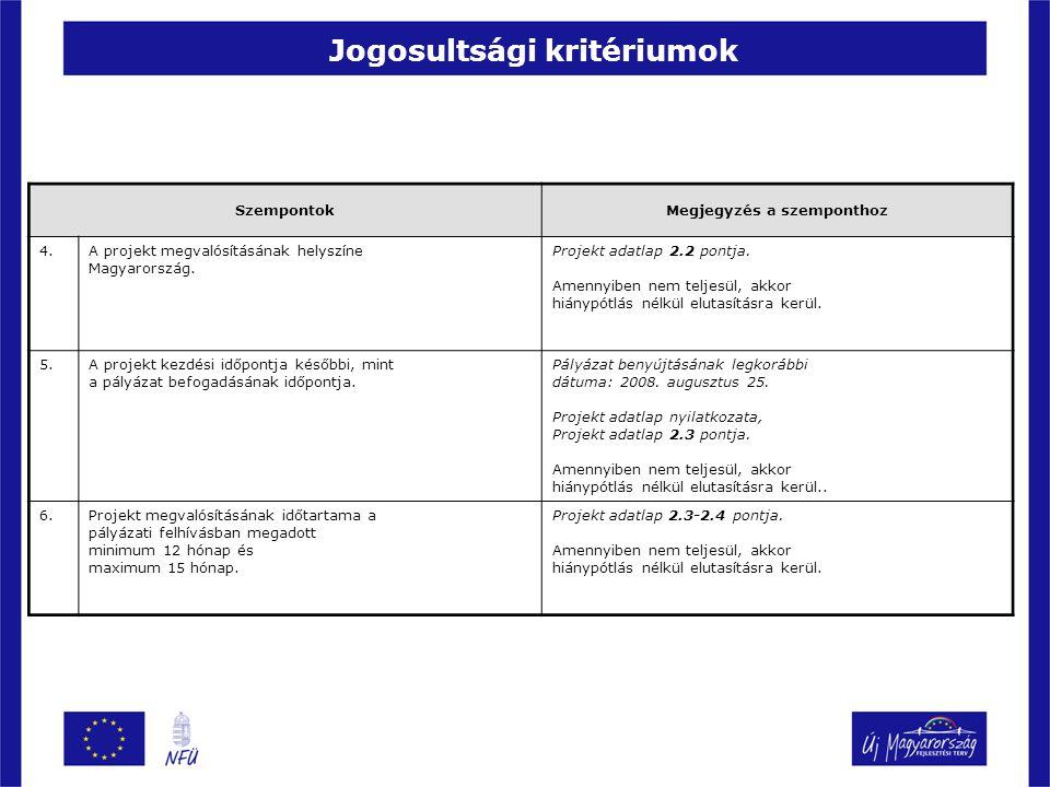 Jogosultsági kritériumok