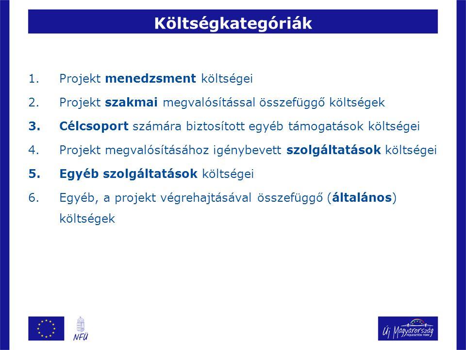 Költségkategóriák Projekt menedzsment költségei
