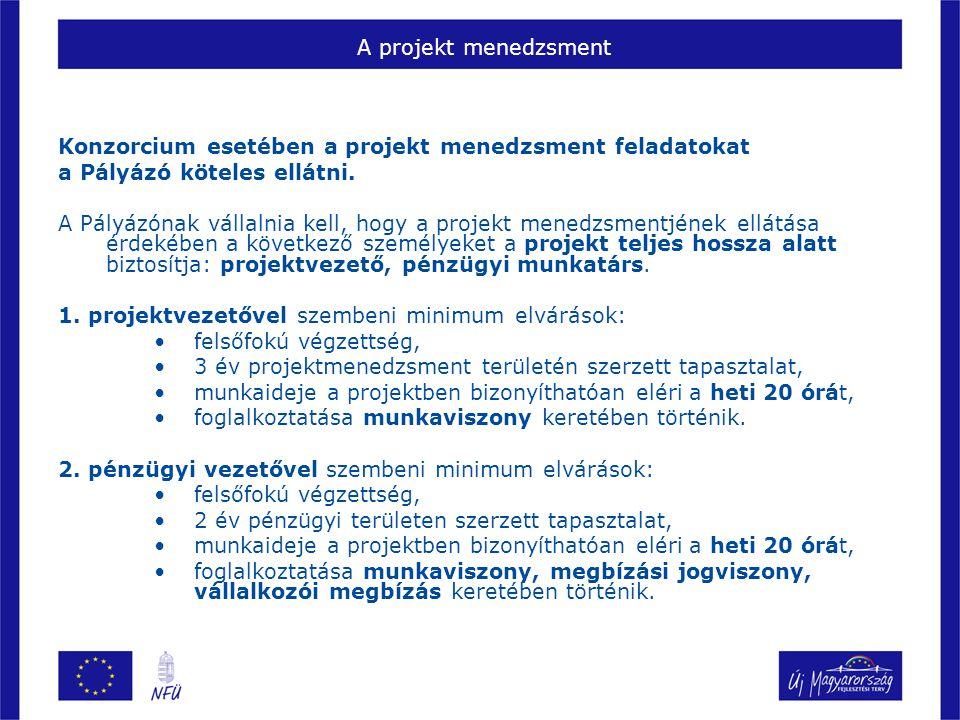 A projekt menedzsment Konzorcium esetében a projekt menedzsment feladatokat. a Pályázó köteles ellátni.