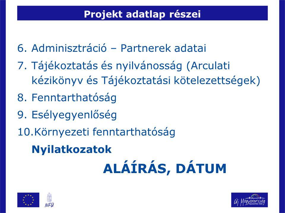 Projekt adatlap részei