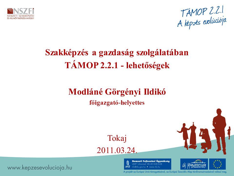 Szakképzés a gazdaság szolgálatában TÁMOP 2.2.1 - lehetőségek