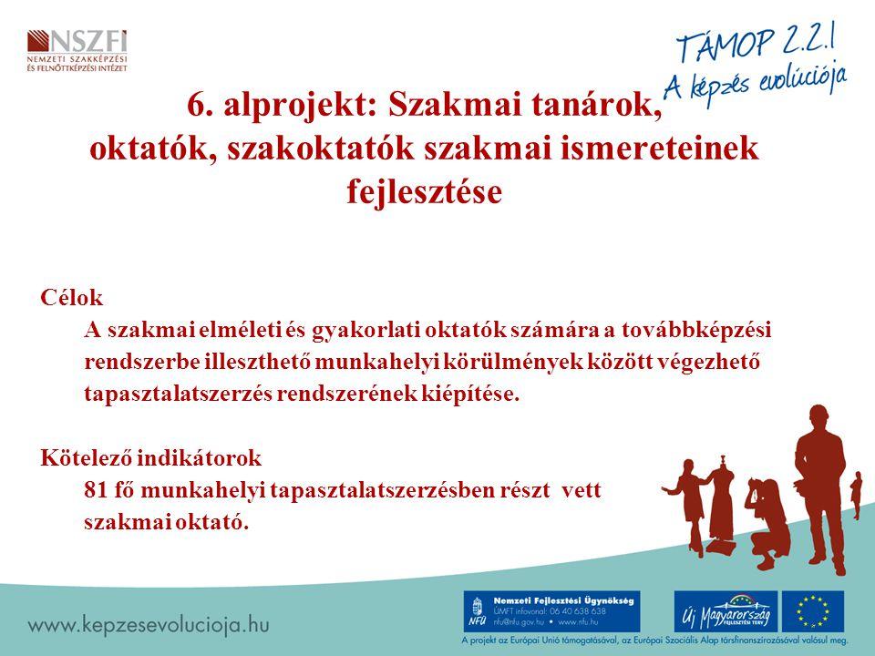 6. alprojekt: Szakmai tanárok, oktatók, szakoktatók szakmai ismereteinek fejlesztése