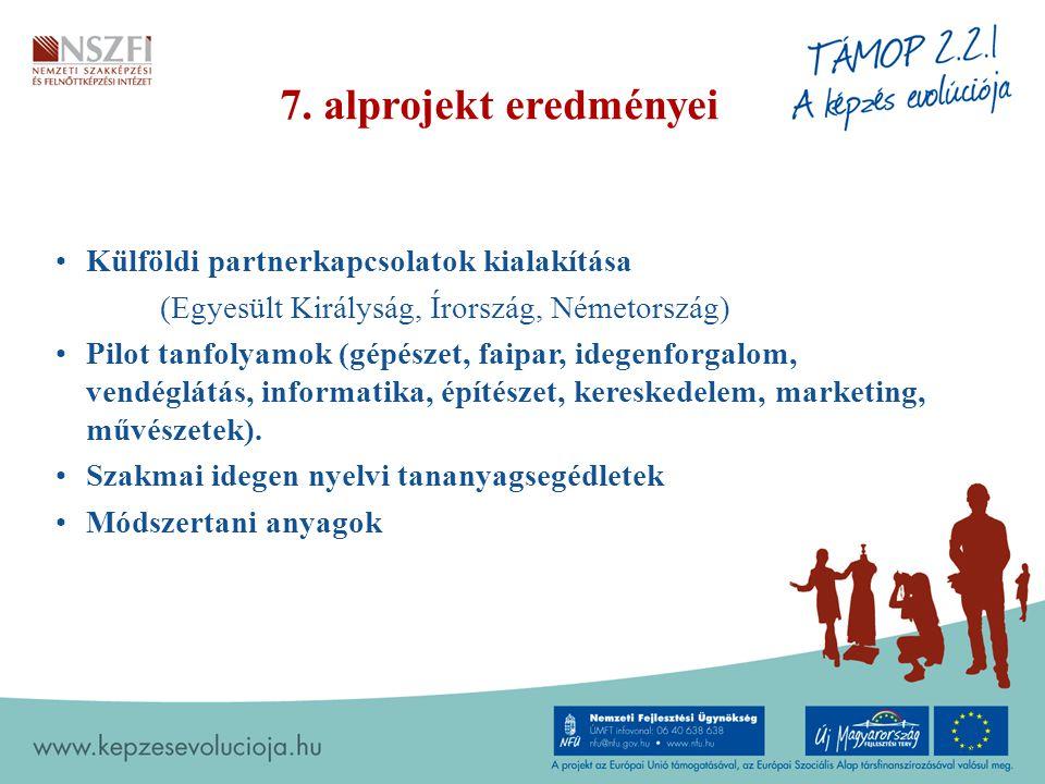 7. alprojekt eredményei Külföldi partnerkapcsolatok kialakítása