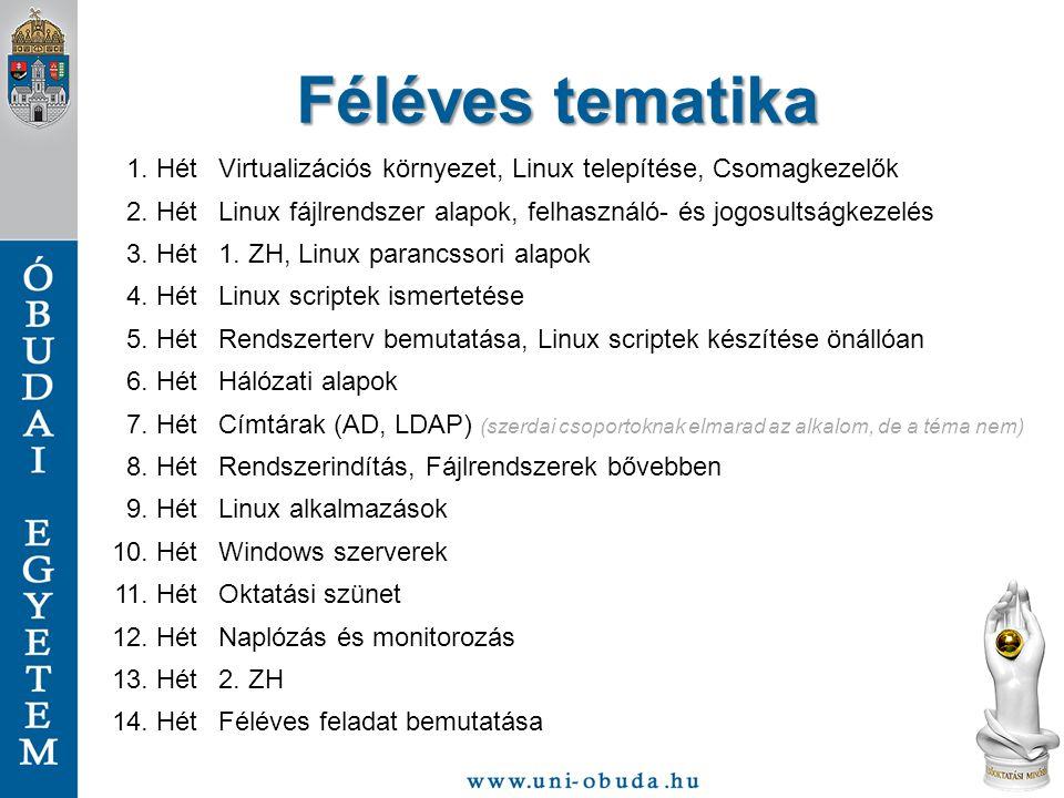 Féléves tematika 1. Hét. Virtualizációs környezet, Linux telepítése, Csomagkezelők. 2. Hét.