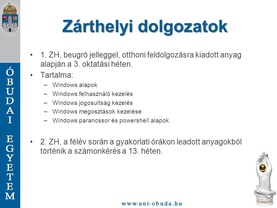 Zárthelyi dolgozatok 1. ZH, beugró jelleggel, otthoni feldolgozásra kiadott anyag alapján a 3. oktatási héten.