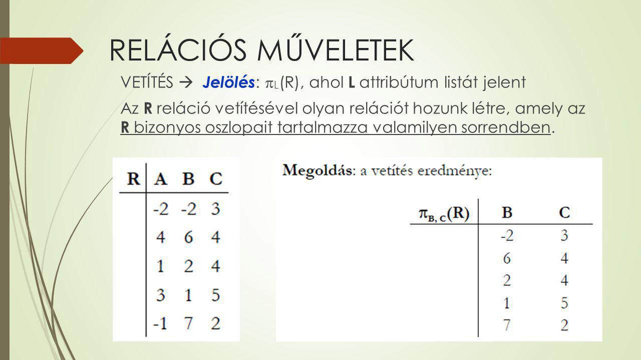 RELÁCIÓS MŰVELETEK