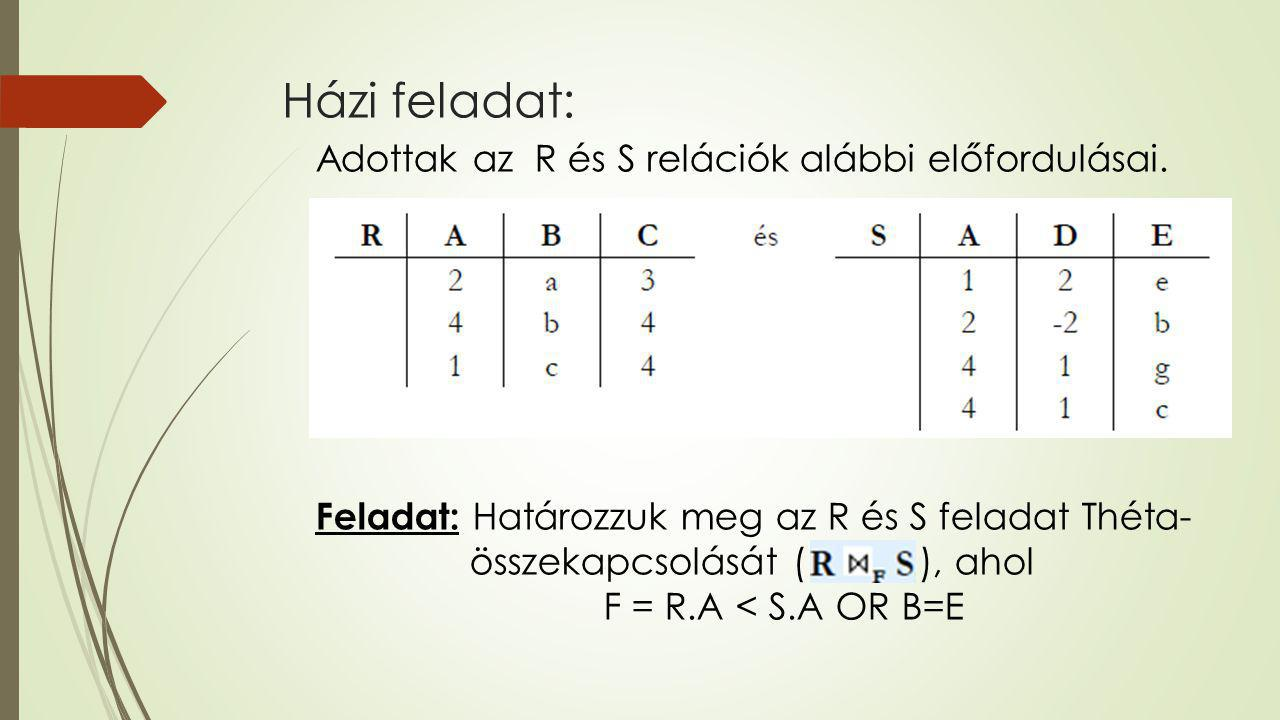 Házi feladat: Adottak az R és S relációk alábbi előfordulásai.