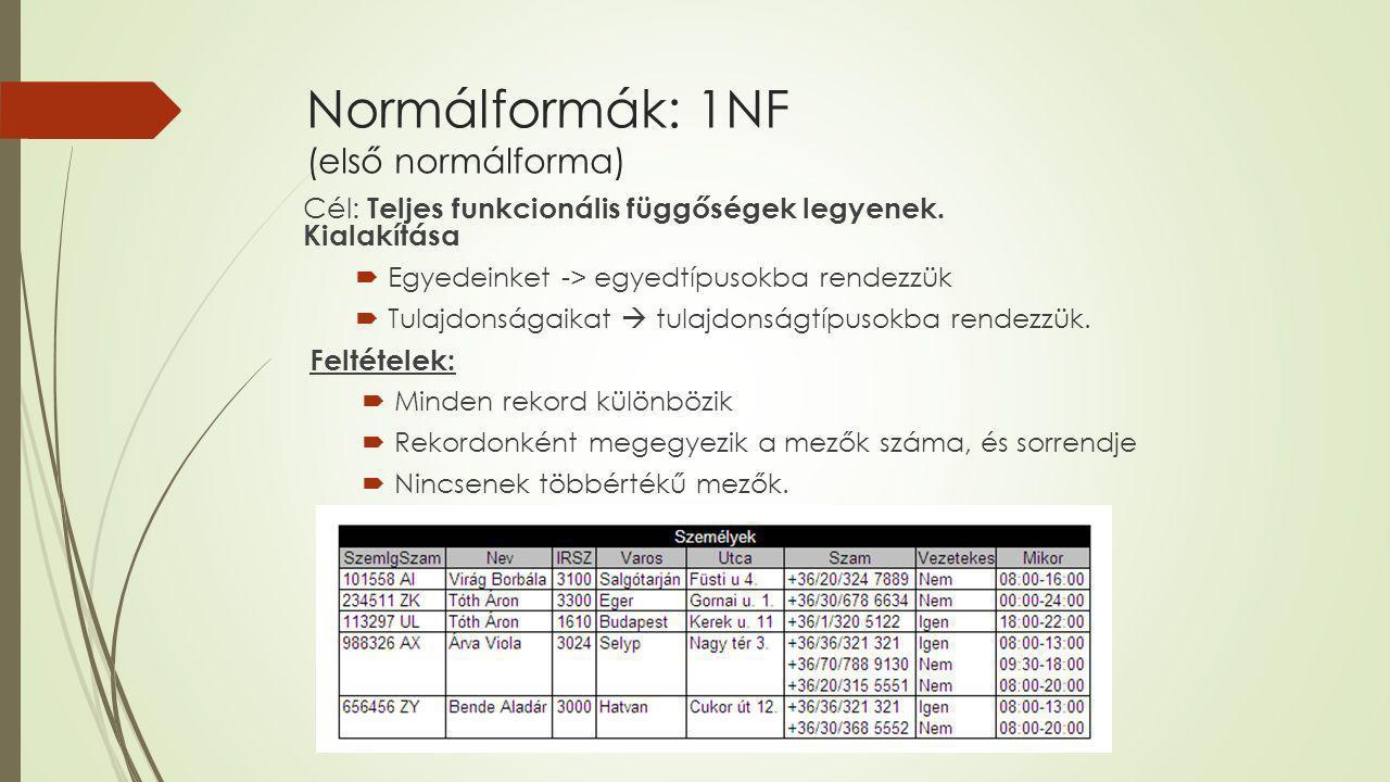 Normálformák: 1NF (első normálforma)