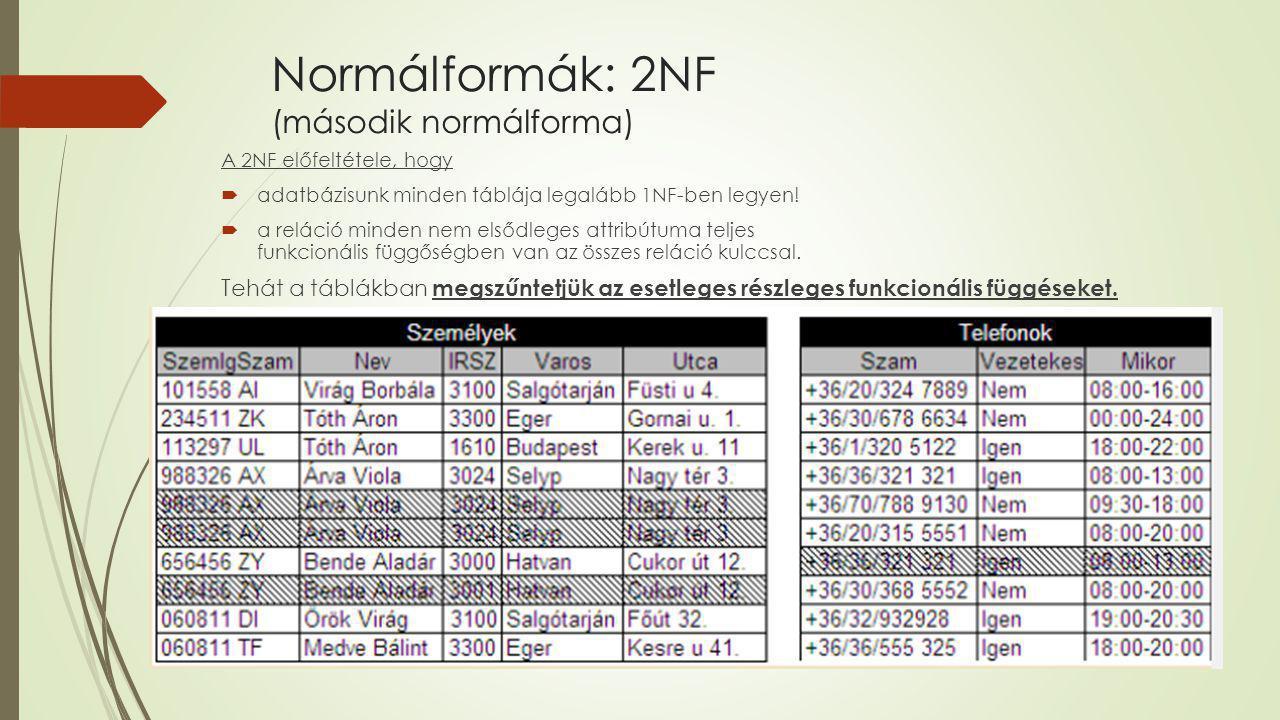Normálformák: 2NF (második normálforma)