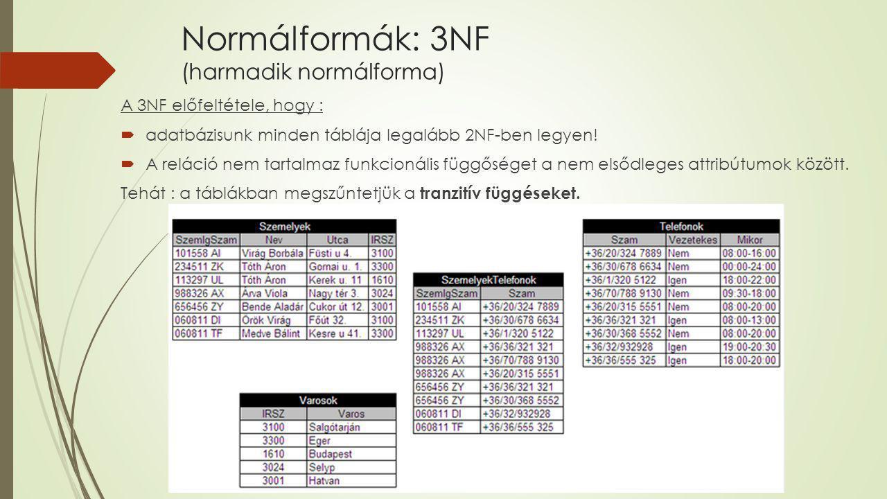 Normálformák: 3NF (harmadik normálforma)