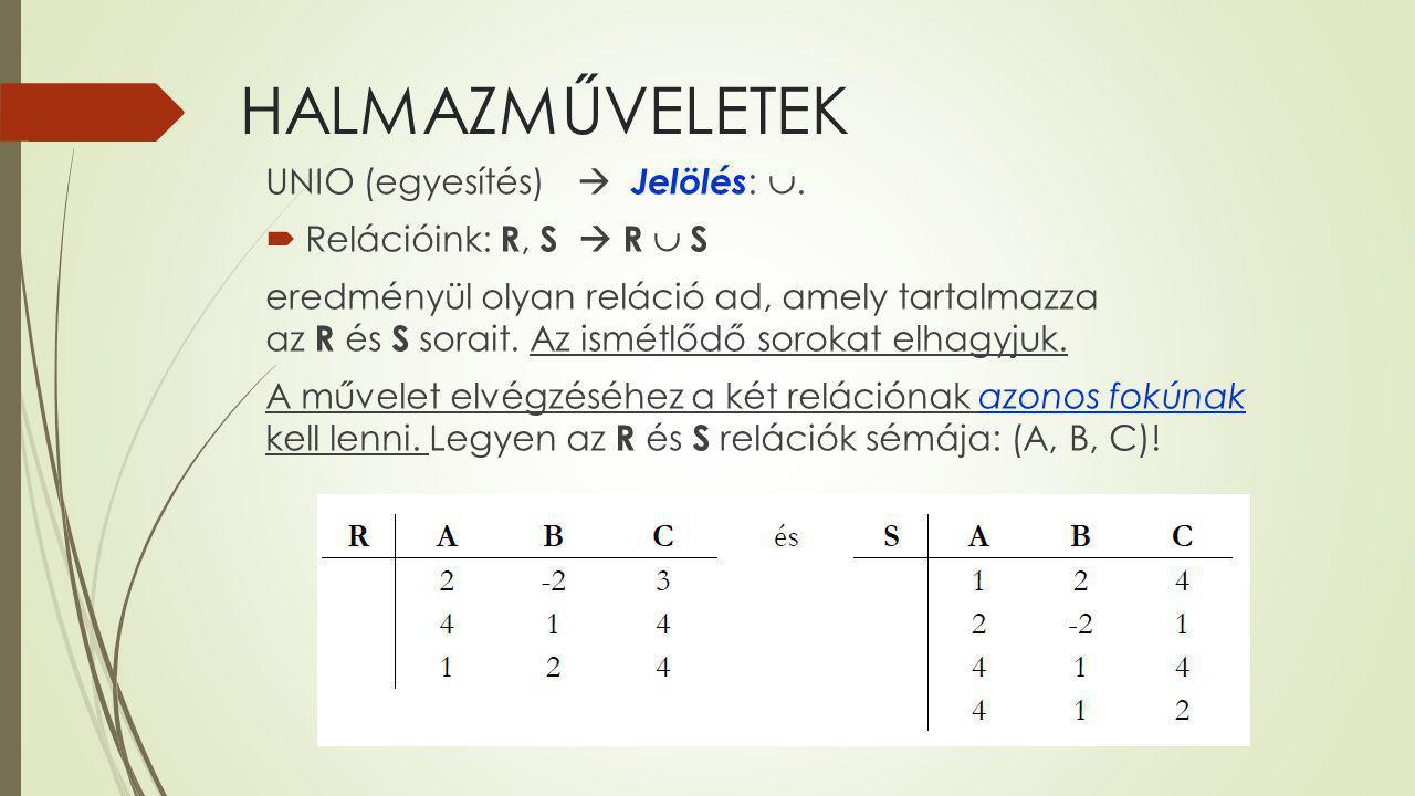 HALMAZMŰVELETEK UNIO (egyesítés)  Jelölés: .