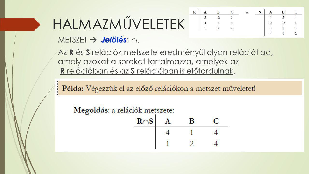 HALMAZMŰVELETEK