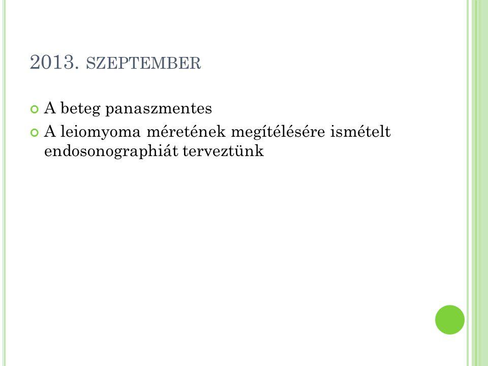 2013. szeptember A beteg panaszmentes