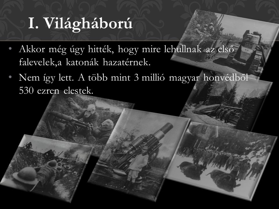 I. Világháború Akkor még úgy hitték, hogy mire lehullnak az első falevelek,a katonák hazatérnek.