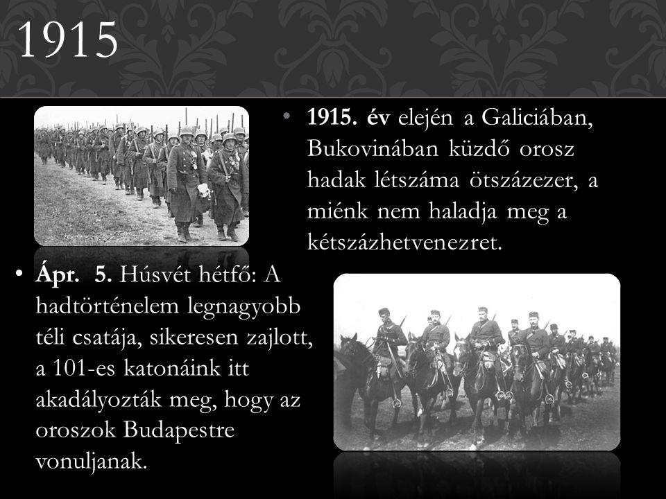 1915 1915. év elején a Galiciában, Bukovinában küzdő orosz hadak létszáma ötszázezer, a miénk nem haladja meg a kétszázhetvenezret.