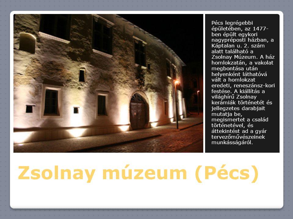 Pécs legrégebbi épületében, az 1477-ben épült egykori nagypréposti házban, a Káptalan u. 2. szám alatt található a Zsolnay Múzeum. A ház homlokzatán, a vakolat megbontása után helyenként láthatóvá vált a homlokzat eredeti, reneszánsz-kori festése. A kiállítás a világhírű Zsolnay kerámiák történetét és jellegzetes darabjait mutatja be, megismertet a család történetével, és áttekintést ad a gyár tervezőművészeinek munkásságáról.