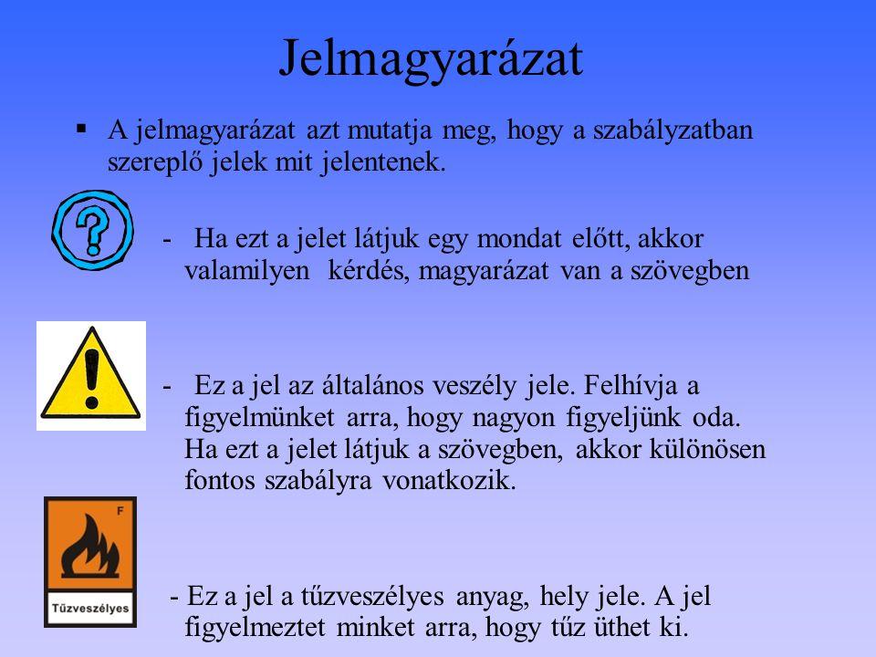 Jelmagyarázat A jelmagyarázat azt mutatja meg, hogy a szabályzatban szereplő jelek mit jelentenek.
